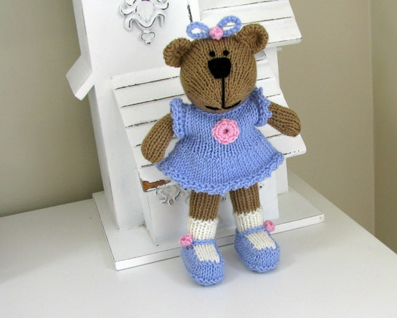 Hand Knitted Stuffed Bear Knit Animal Birthday Gift Knitted Etsy