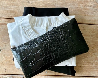 Black Leather Clutch/ Leather Bag/ Add style to your wardrobe in an instant/Clutch/Purse/Small Bag/Gift/Leather Purse
