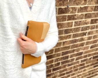 Camel Leather Clutch/Leather bag/ Leather clutch/Gift/Night out/Leather Purse/Small Bag