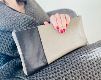 Beige and Chocolate Brown Leather Clutch/ Leather Bag/ Leather Bag/Leather Clutch/ Gift/Night out/Leather Purse/Small bag