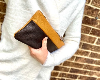 Camel and Espresso Leather Clutch/Leather bag/ Leather clutch/Gift/Night out/Leather Purse/Small Bag