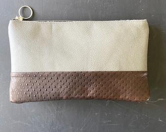 Grey and Espresso Leather Clutch/Brown Soft Leather and Grey Leather Clutch/ Bag/ Leather Bag/Leather/Clutch