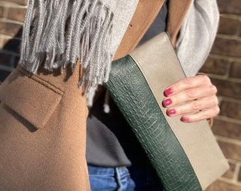 Beige and Hunter Green Leather Clutch/ Leather Bag/ Leather Clutch/Gift/Night out/Leather Purse/Small Bag