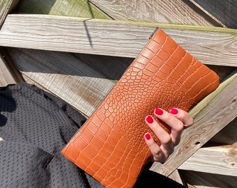 Cognac Leather Clutch/ Leather Bag/ Add style to your wardrobe in an instant/Clutch/Purse/Small Bag/Gift/Leather Purse