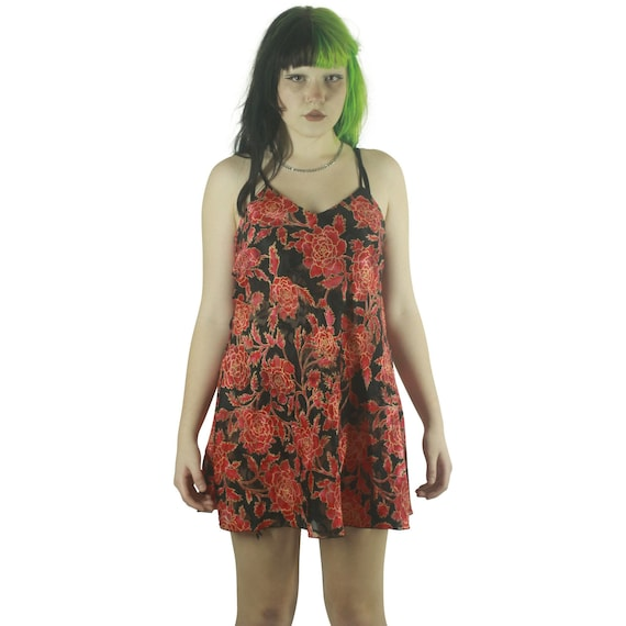 Floral Black & Red Strappy Slip - Large