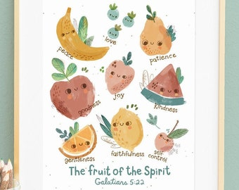 FRUIT of the SPIRIT-Kid's Bible Verse Wall Art, Nursery Decor, Christian Gift, Scripture Wall Art-English or French
