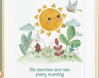 LAMENTATIONS 3 22-His mercies are new every morning, Bible Verse Wall Art Kid Baby Christian Gift, Scripture Wall Art-English or French