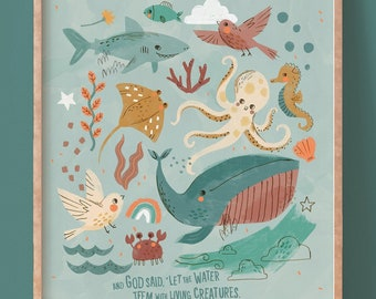 Bible Verse Wall Art, God created fish and birds, Nursery Decor, Christian Gift, Scripture Wall Art-English or French