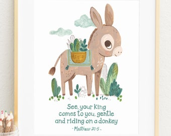 Bible Verse Wall Art, Your King comes to you on donkey, Christian Gift, Scripture Wall Art-English or French