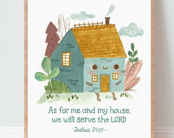 Bible Verse Wall Art, Me and my house, Nursery Decor, Christian Gift, Scripture Wall Art-English or French
