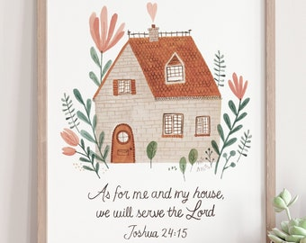 As for me and my house we will serve de Lord-Joshua 24 15-Bible Verse Wall Art, Christian Gift, Scripture Print-English or French