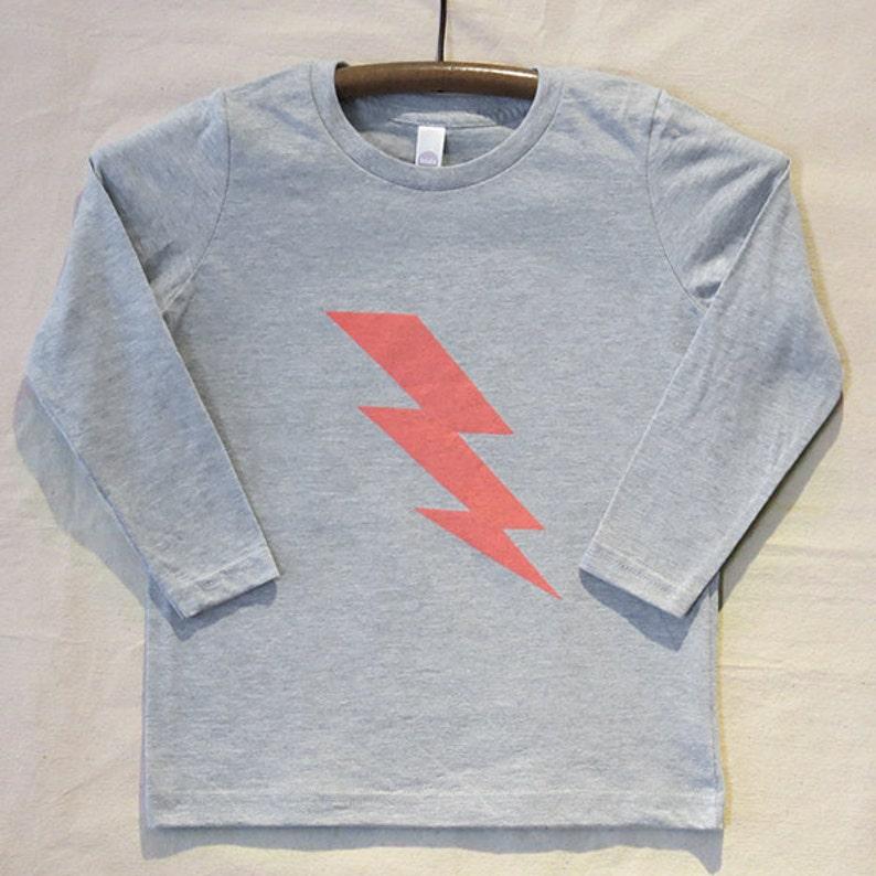 Kids' Long Sleeve Grey T Shirt with Hand Printed Neon image 0