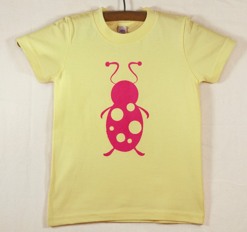 Kids' Yellow T Shirt with Hand Printed Magenta Lady Bug image 0