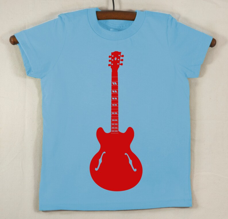 Kids' Blue T Shirt with Hand Printed Red Guitar image 0
