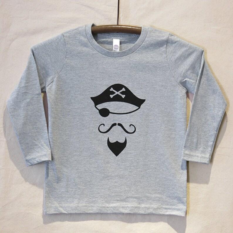 Kids' Grey Long Sleeve T Shirt with Hand Printed Black image 0
