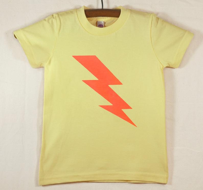 Kids' Yellow T Shirt with Hand Printed Neon Orange image 0