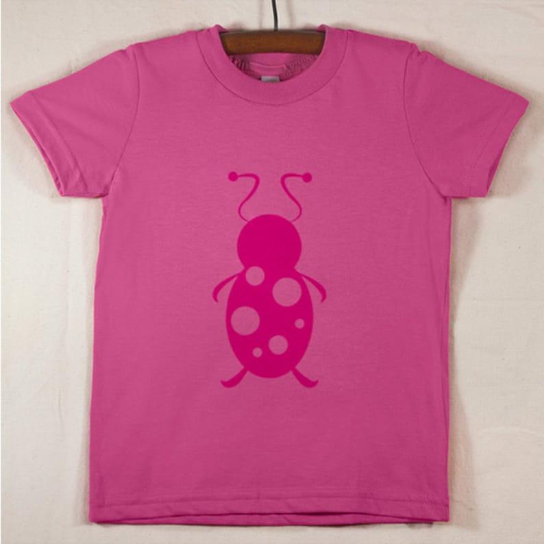 Kids' Pink T Shirt with Hand Printed Magenta Lady Bug image 0