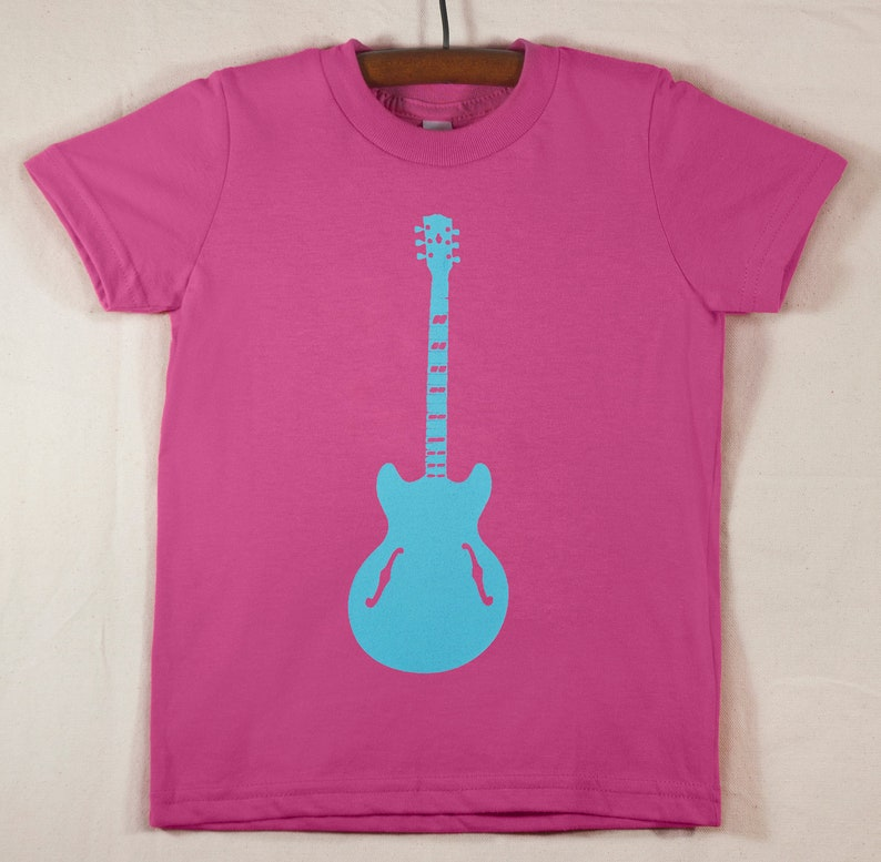 Kids' Pink T Shirt with Hand Printed  Blue Guitar image 0