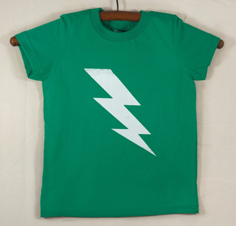 Kids' Green T Shirt with Hand Printed White Lightning Bolt image 0