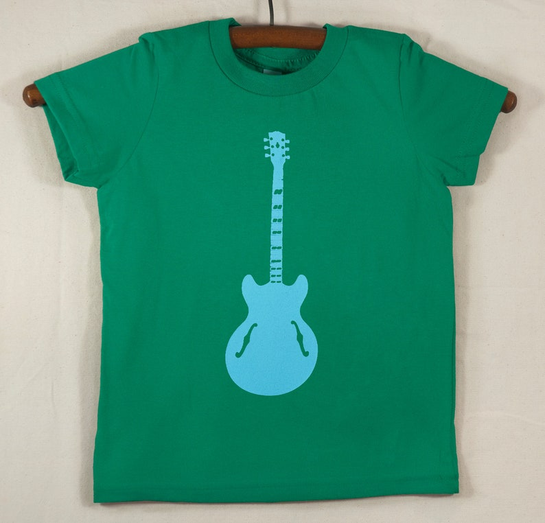Kids' Green T Shirt with Hand Printed Blue Guitar image 0