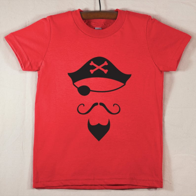 Kids' Red T Shirt with Hand Printed Black Pirate image 0