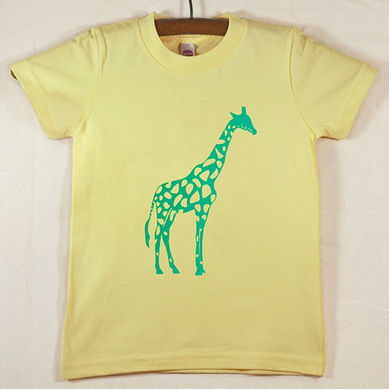 Kids' Yellow T Shirt with Hand Printed Green Giraffe image 0