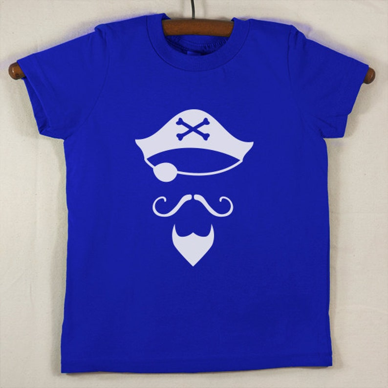 Kids' Lapis Blue T Shirt with Hand Printed White Pirate image 0