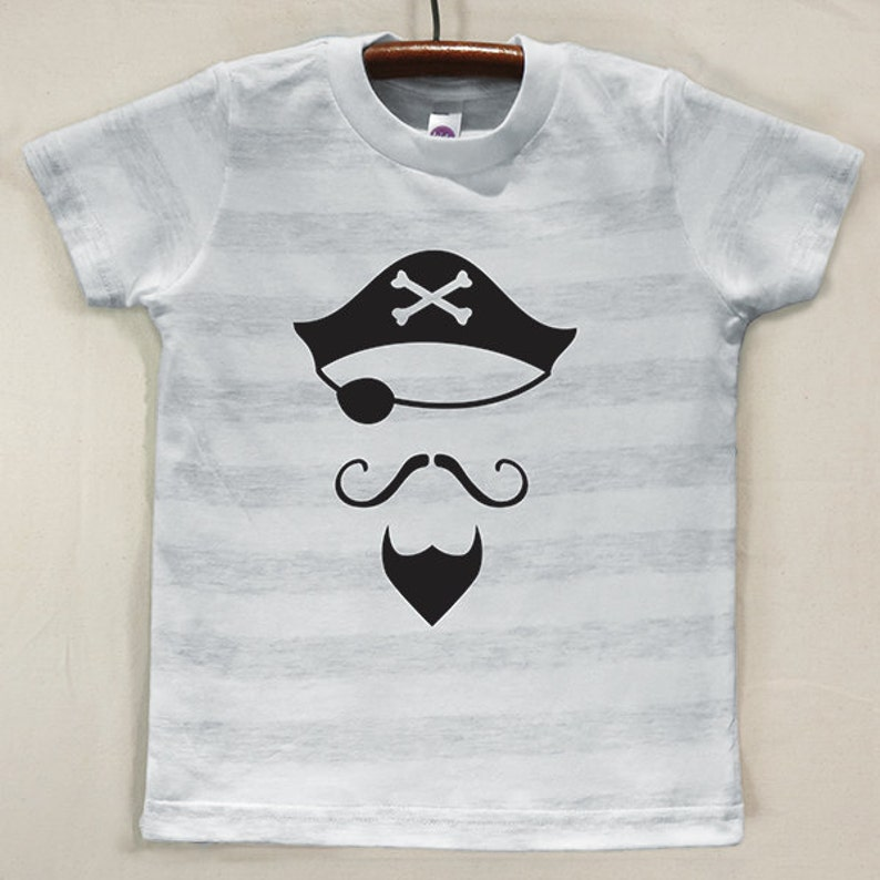 Kids' Ash Grey Striped T Shirt with Hand Printed Black image 0