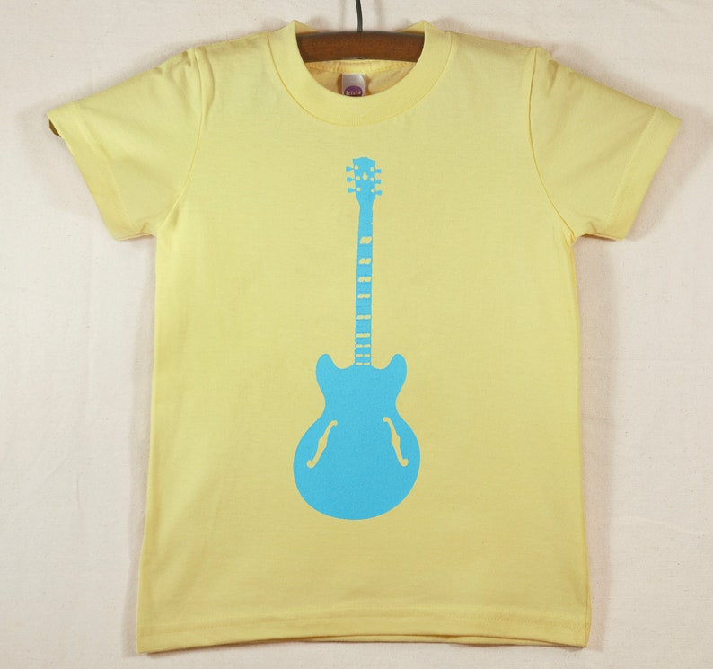 Kids' Yellow T Shirt with Hand Printed Blue Guitar image 0