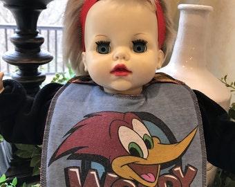 Vintage Baby Bibs Bib Kids Children Toddlers Clothes t shirt recycled Girls Boys Woody Woodpecker Cartoon