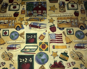 Debbie Mumm fabric 1 Yard School miscellaneous allover tan OOP, Rare