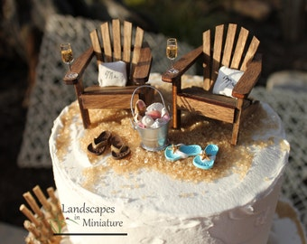 fce19ca4a380ca Beach Theme Wedding COMPLETE Cake Topper Classic Adirondack Chairs   Flip  Flops INCLUDES Mr. and Mrs. PILLOWS - by Landscapes In Miniature