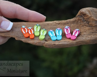 Miniature FLIP FLOPS with FLOWERS for your Miniature Beach Vacation or Wedding Cake Topper  - by Landscapes In Miniature
