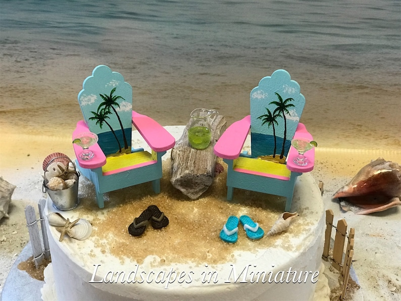 Jimmy Buffett Adirondack Chairs.Jimmy Buffett Margaritaville Style Miniature Adirondack Chairs Aqua Pink Yellow Beach Cake Topper Set By Landscapes In Miniature