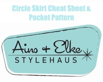 Circle Skirt Cheat Sheet + Pocket Pattern