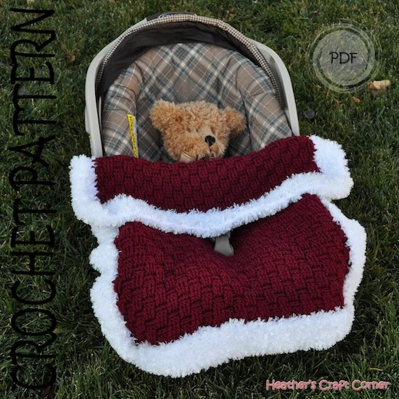 Crochet Pattern Santa Baby Car Seat Blanket US UK Terms