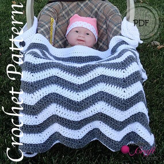Crochet Pattern Chevron Car Seat Stroller Baby Blanket Etsy