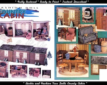 Barbie and 11 inch Fashion Teen Dolls County Cabin Play Set in Plastic Canvas Pattern in HD PDF