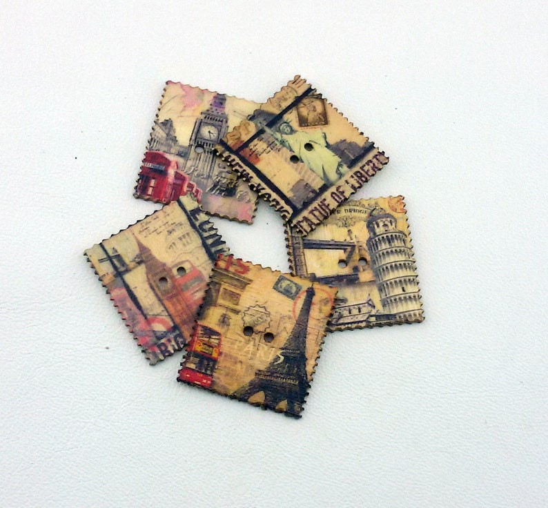 scrapbook buttons,6 wooden buttons,photo buttons,wooden buttons,colorful scrap booking buttons,decorative,animal buttons,colored buttons,red