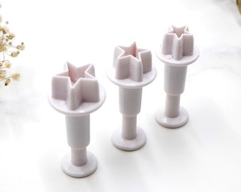 Baking Tool 3pc Mini Hearts Retractable Cookie Cutters Fondant Plunger
