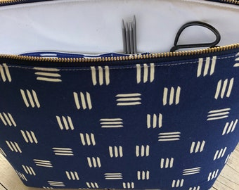 XL Knitting Project Bag , knitting project bag, Zippered Bag , canvas zippered project bag,Project Bag