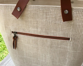 Jumbo Bucket Tote with leather handles, Project Tote, Bucket Storage Bin, Knitting Storage, Knitting Basket with Leather Handles,