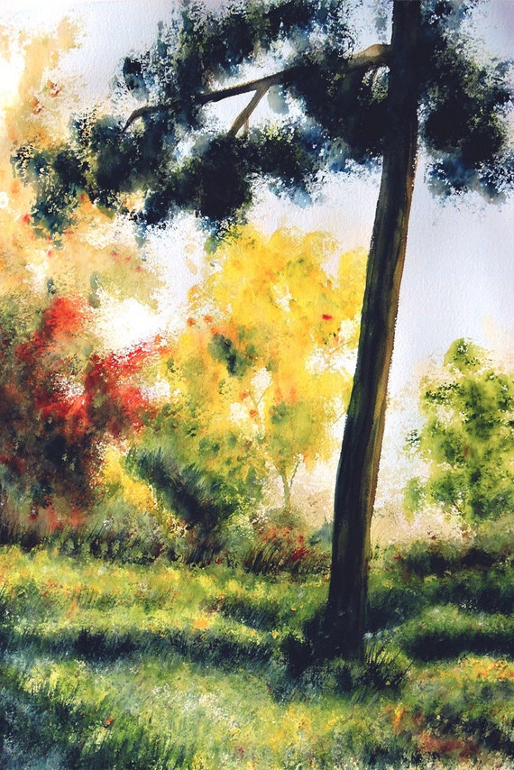 original watercolor landscape the forest aquarelle etsy original watercolor landscape the forest aquarelle painting nature art wall art birthday gift mother s day gift