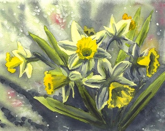 """Original Watercolor Painting With Flowers """"Daffodils"""", Aquarelle Wall Art Birthday Gift Mother's Day Gift"""