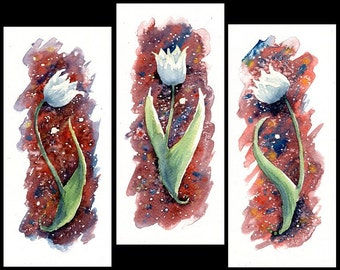 "Original Watercolor Paintings ""White Tulips"" One-of-a-kind Watercolour Triptych Aquarelle Wall Art Birthday Gift Mother's Day Gift"
