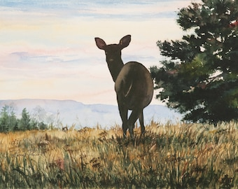 Hilltop Surprise. Original Watercolor on Paper, 14 x 10 - FREE SHIPPING