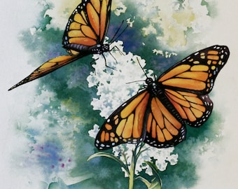 Monarchs, 12 x 16, Original Watercolor on Paper. FREE SHIPPING