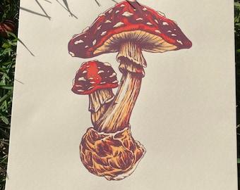 Fungi Friends 16x16 art print
