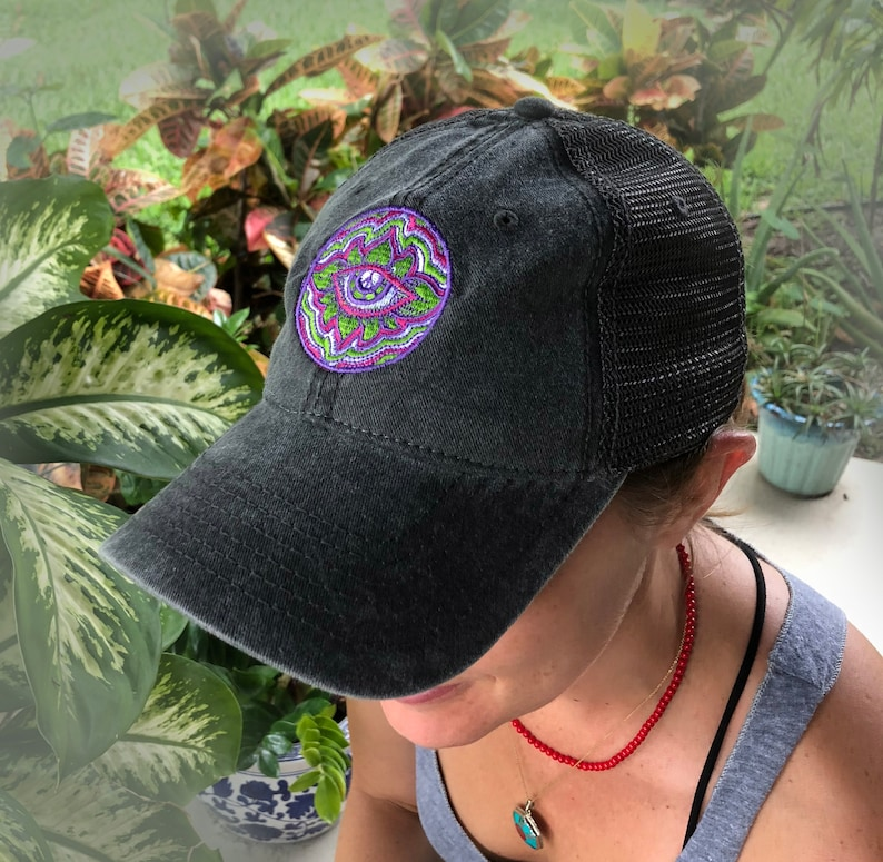 57d81d4a Psychedelic Eye 6-panel relaxed fit snapback hat | Etsy