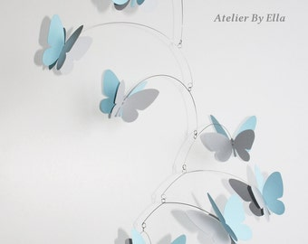 Bright blue and grey mobile, 9  Butterflies mobile, Home decor, Kinetic